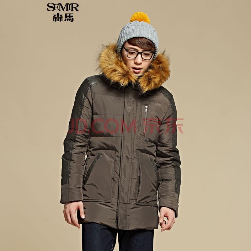 冬装新款 男士连帽拼接直筒中长款外套韩版潮男装图片