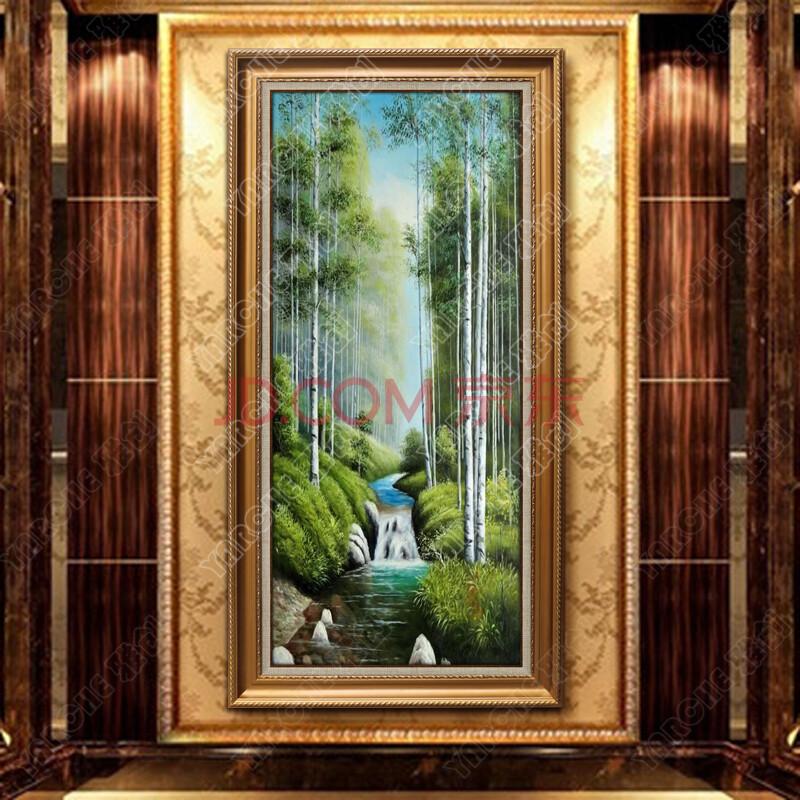 雅创 现代欧式油画玄关纯手绘山水风景油画竖幅走廊装饰画壁画 发财树