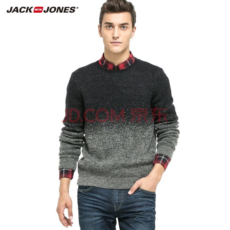 杰克琼斯jackjones针织衫羊毛马海毛男士圆领合体针织