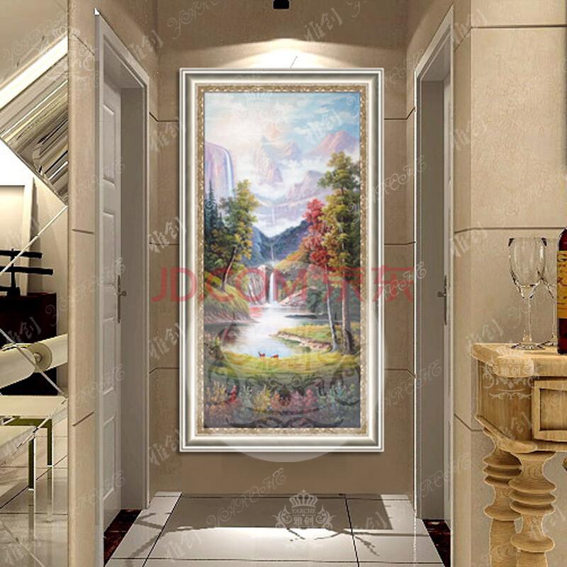 雅创油画 纯手绘欧式山水风景油画装饰画走廊过道玄关竖版聚宝盆壁画图片