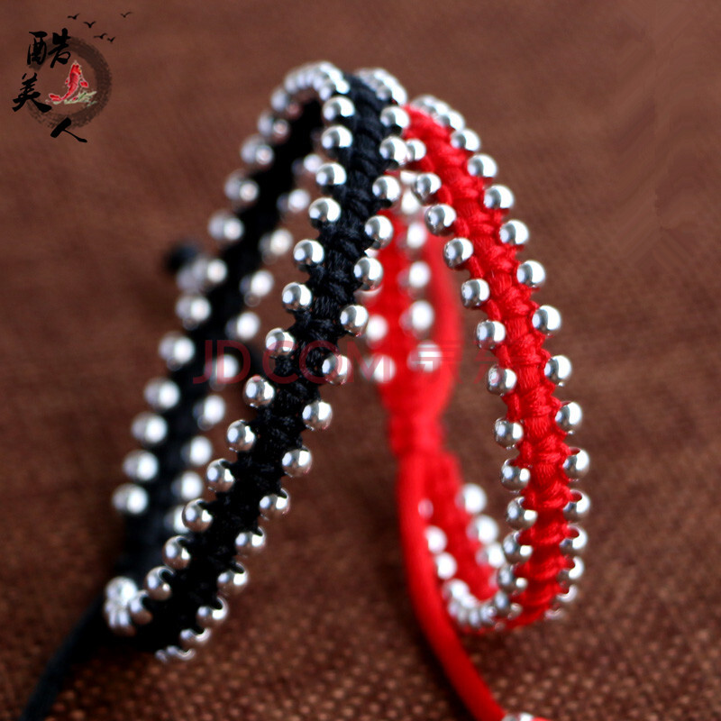 酷美人 925银珠手工编织红绳手链情侣男女手绳 红色*请备注尺寸
