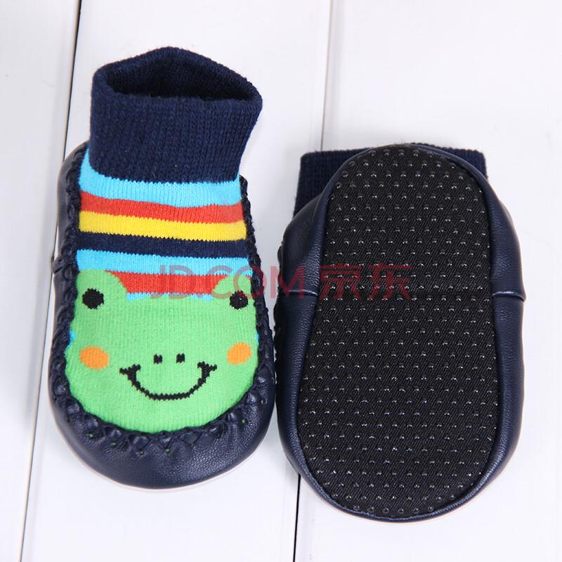 秋冬款加厚婴儿袜子地板袜宝宝袜子保暖防滑厚底学步鞋 条纹青蛙 m码