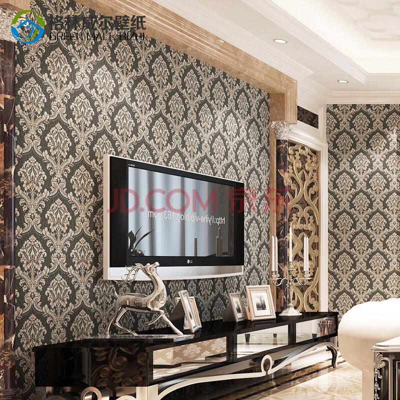 格林威尔 天鹅绒电视背景墙纸 欧式大马士革客厅壁纸卧室 黑色 长10m*图片