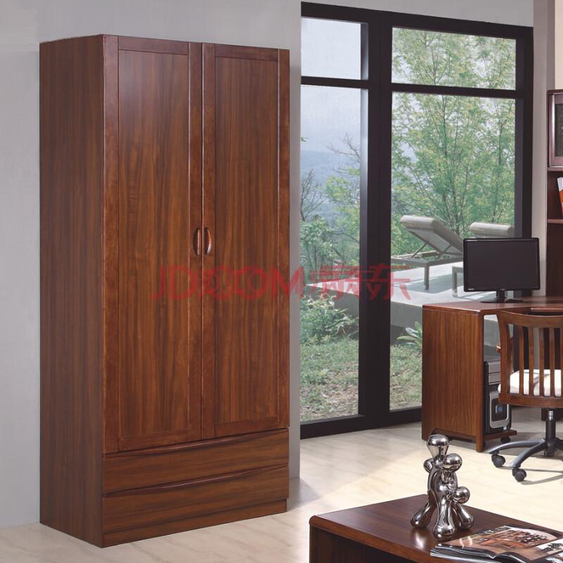 中式实木卧室家具 二门衣柜带抽衣柜衣橱 k0281 乌金木色 二门衣柜