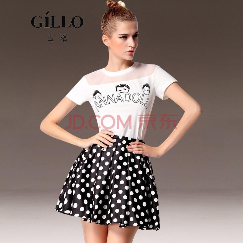 吉洛gillo 2014夏季新品可爱卡通娃娃头像印花t恤上衣 波点印花短裙