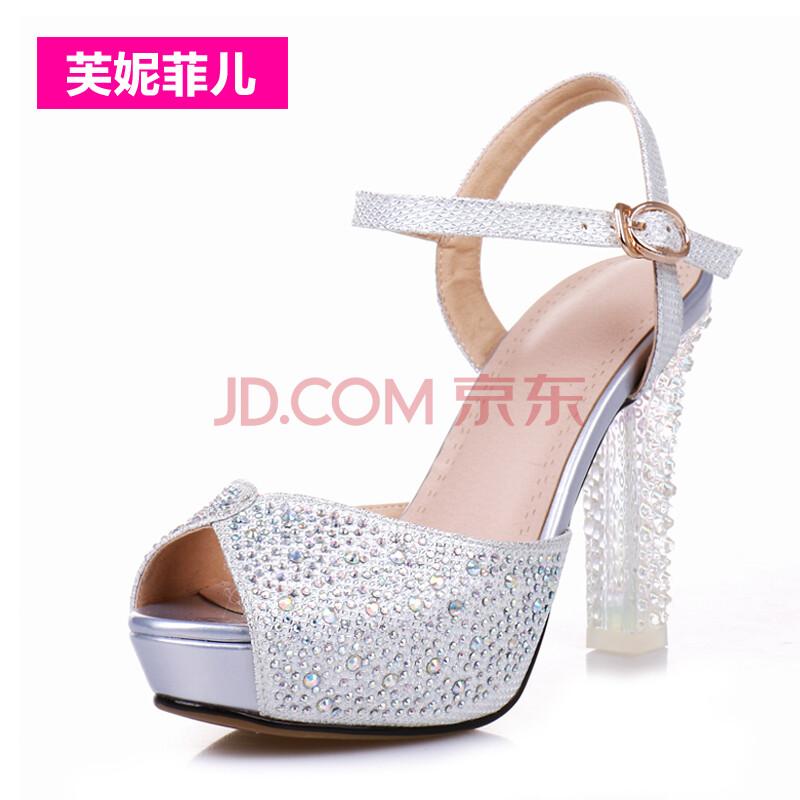 芙妮菲儿甜美女凉鞋2014女鞋新款鱼嘴带钻水晶高跟台