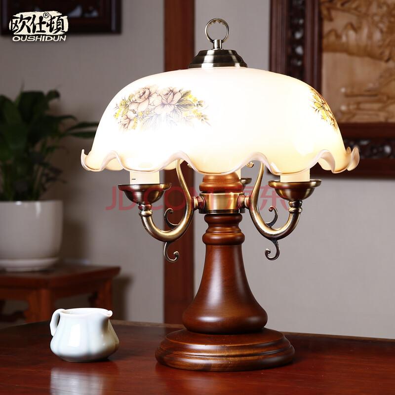 复古台灯实木创意时尚简约现代中式卧室床头