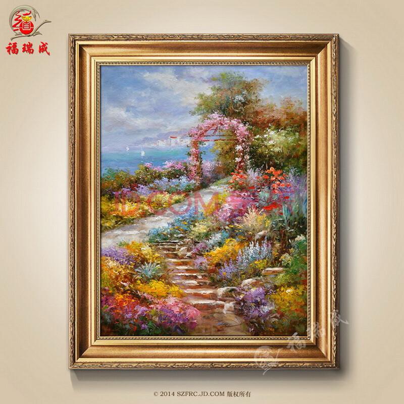 欧式简约有框画手绘油画家居客厅沙发背景装饰画地中海风景油画 作品
