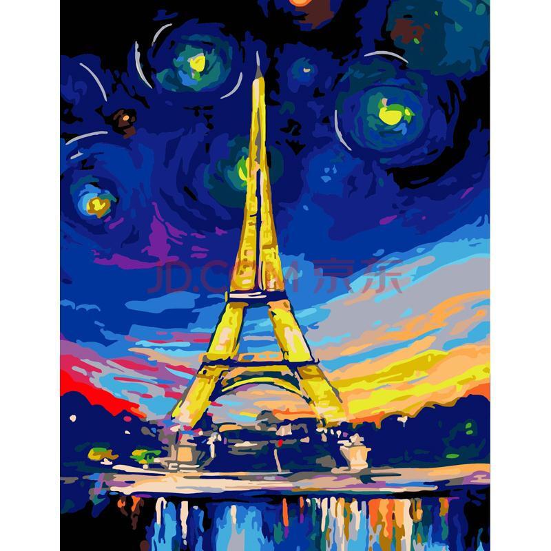 数字油画 客厅餐厅风景人物卡通动漫大幅手绘装饰画 g392 五彩铁塔