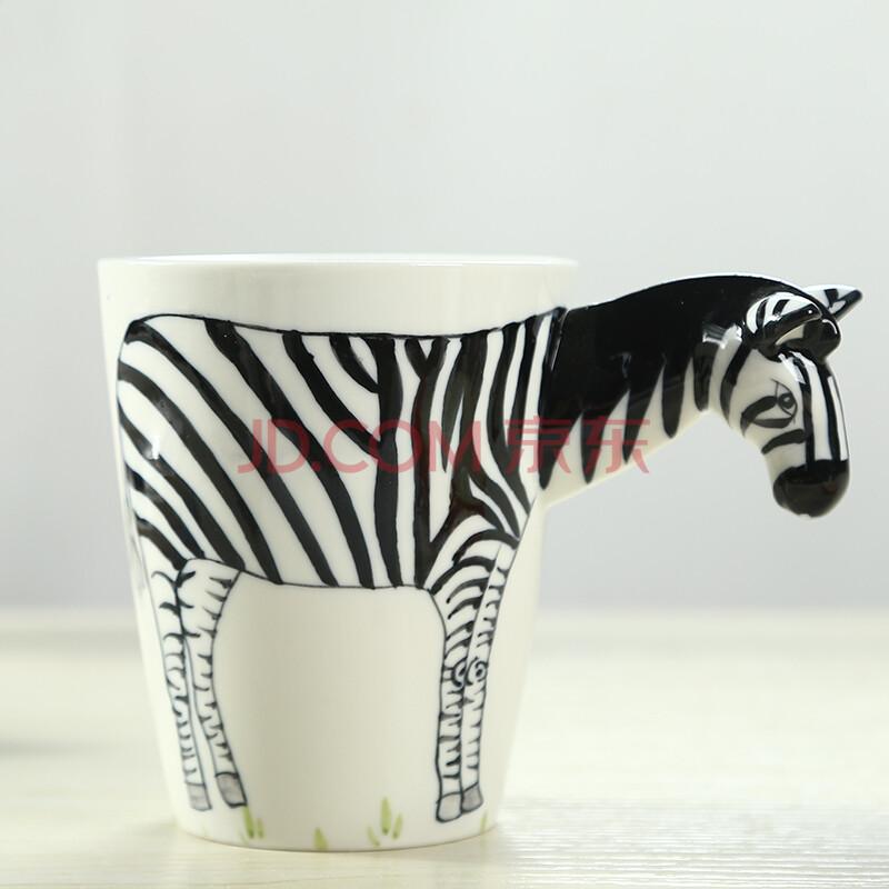 手绘动物杯陶瓷杯子 彩绘水杯咖啡杯马克杯 创意礼品生日礼物送女朋友
