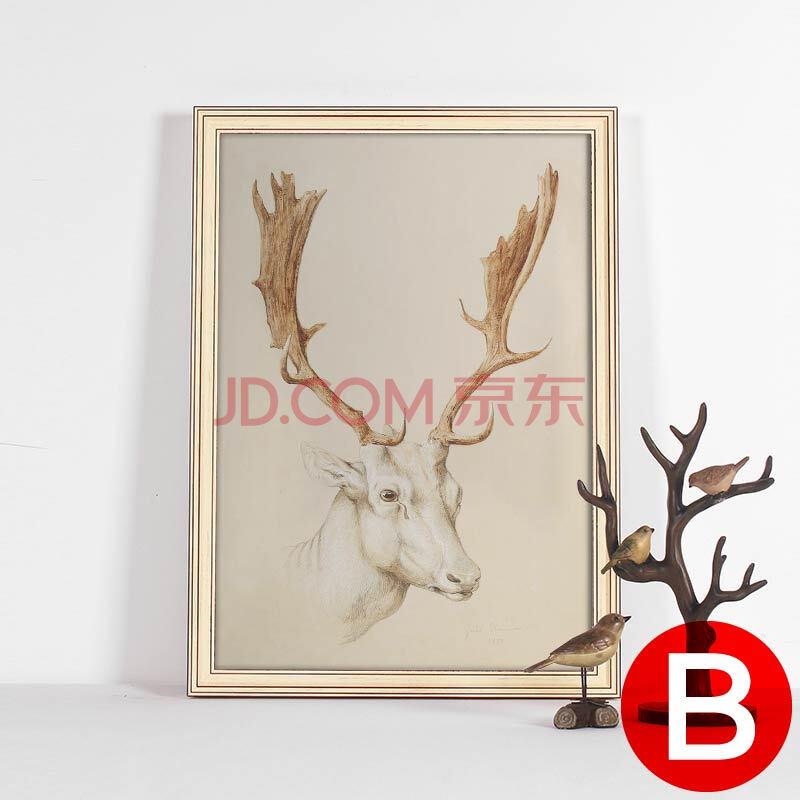 动物鹿头两联墙壁挂画现代简约餐厅装饰画包邮 b款 35x47cm美式黑直框图片