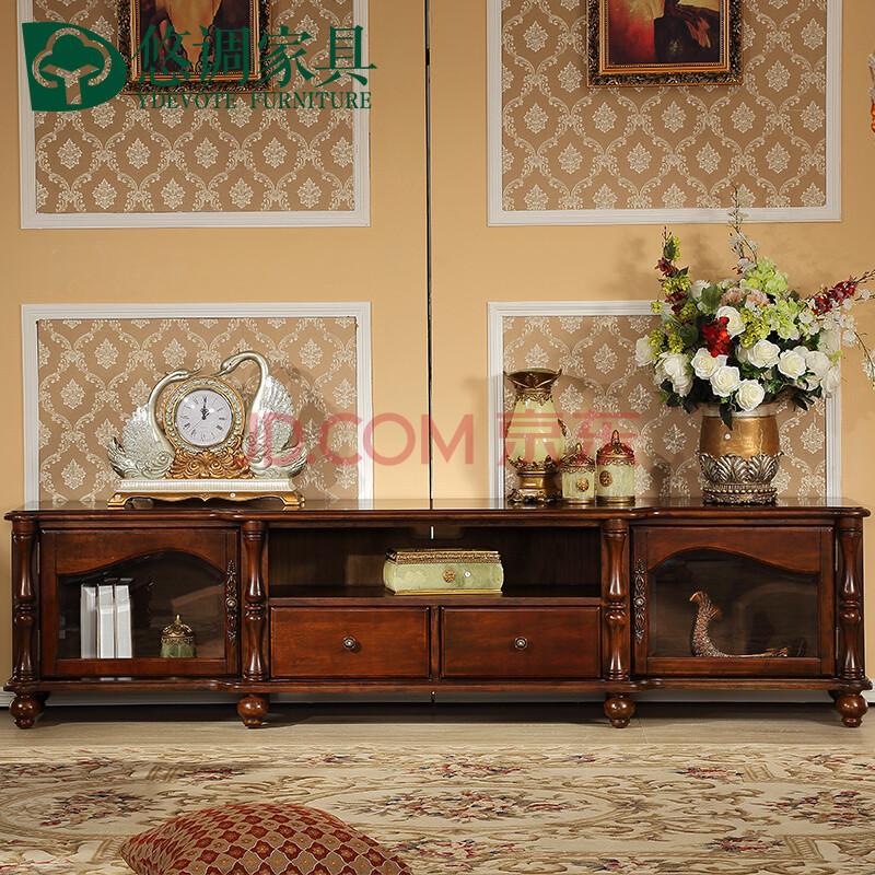 悠调 简约美式乡村全实木茶几电视柜组合套装 美式实木地柜组合柜 全