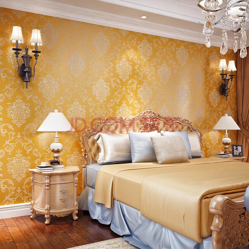 友蓝壁纸 大马士革墙纸欧式花纹 3d撒金升级无纺布卧室客厅电视背景满