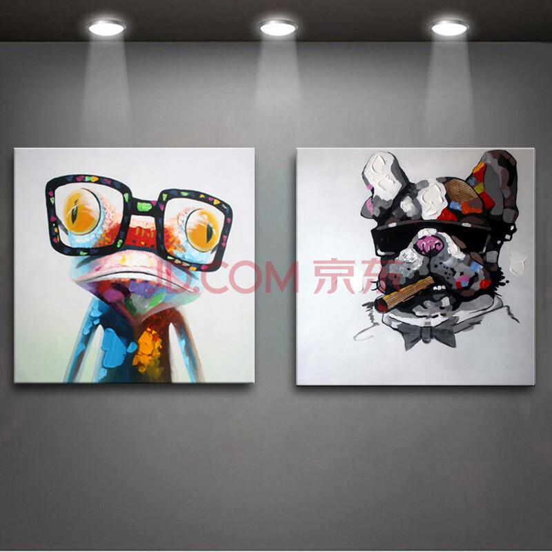 现代简约装饰画卡通动物手绘抽象画客厅沙发墙画