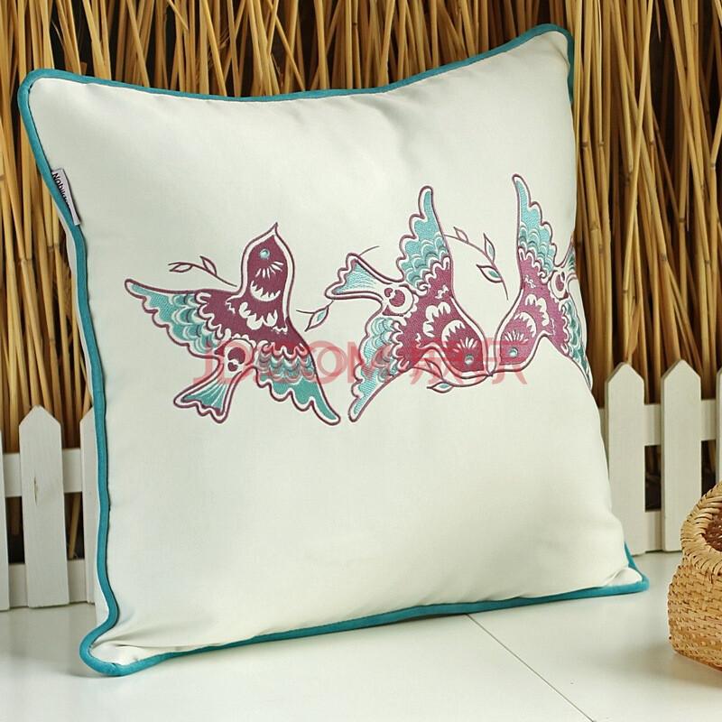 nobildonna 刺绣抱枕手工沙发靠垫 中式布艺床头靠枕沙发靠背 绣花 a图片