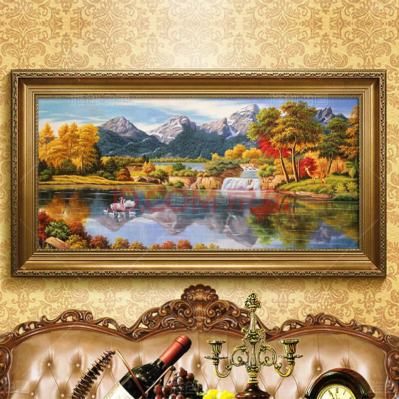 雅创 纯手绘客厅装饰画山水风景油画欧式美式玄关走廊横版定制挂画图片