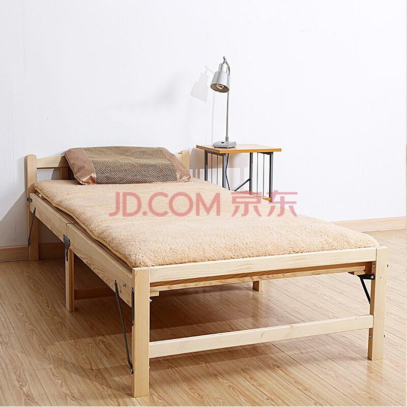 素红 加固纯实木床单人床 折叠床学生床儿童床 松木床