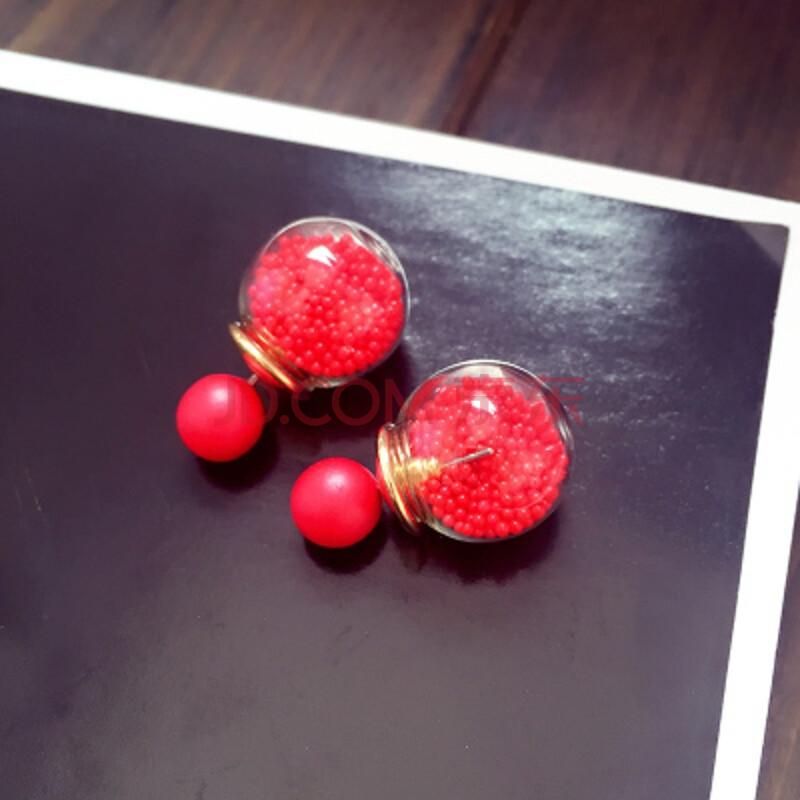 韩版花球水晶珍珠时尚气质耳饰双面耳钉女防过敏耳坠2019 沙球大红