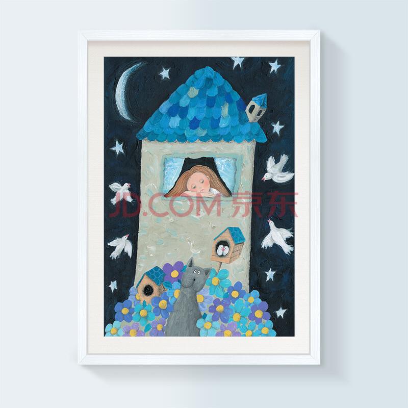 油画儿童房装饰画现代餐厅有框画卡通壁画幼儿园挂画