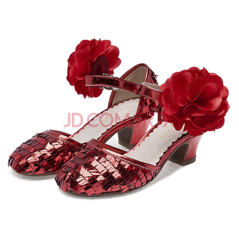 薇妮比比新款儿童鞋子女孩子公主中高跟大童亮