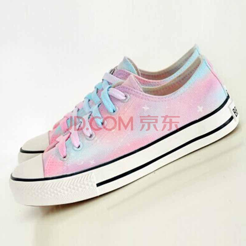新款韩版女潮鞋 低帮系带帆布鞋 原宿星空手绘鞋 薄荷