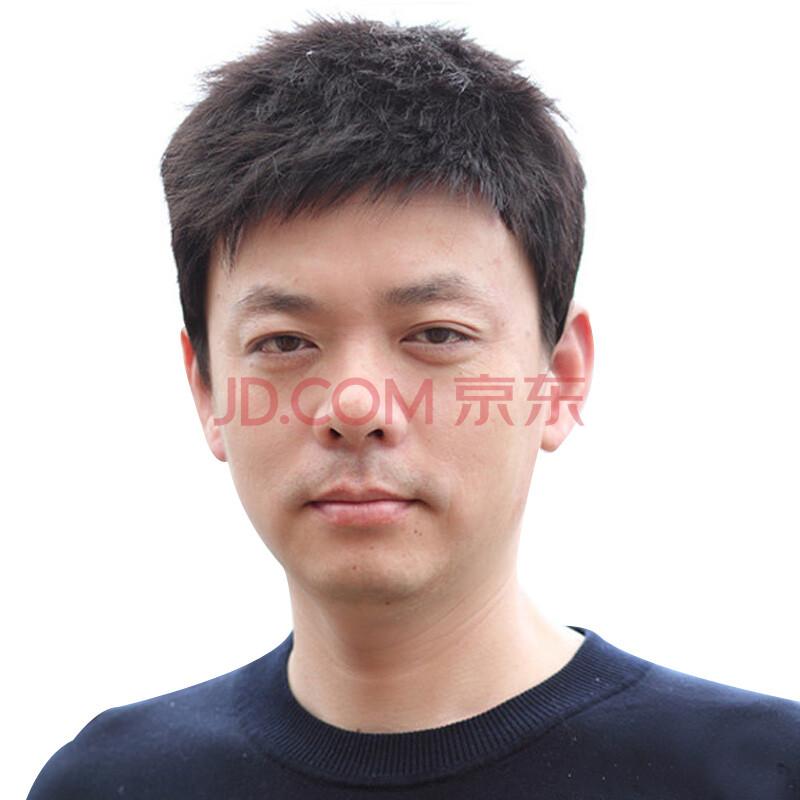 玫瑰雨商务男士真发假发套 清爽型青中老年假发 自然短发 顶心手织自然黑色均码(54-58CM)