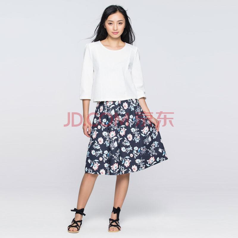 圆领针织两件套裙 本白色 36s