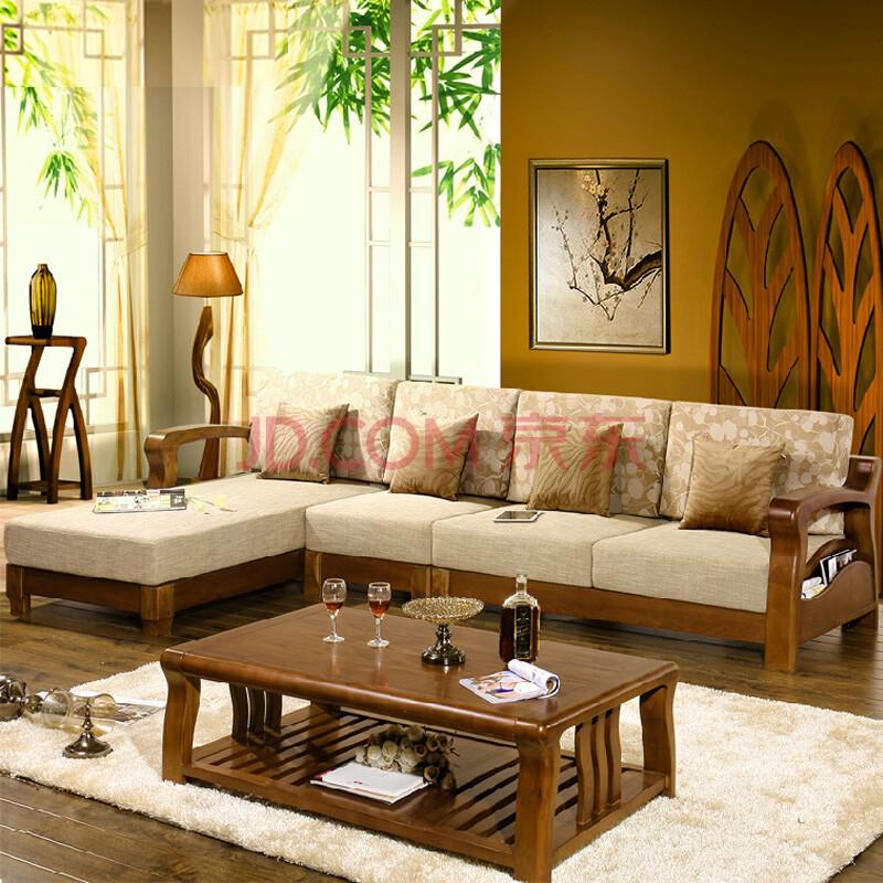 dt2015 全实木沙发组合水曲柳实木转角布艺沙发现代中式古典文艺客厅