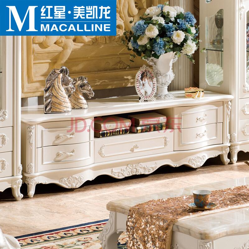 红星美凯龙 欧式电视柜 法式实木矮柜象牙白地柜矮柜储物柜k-02 1.图片