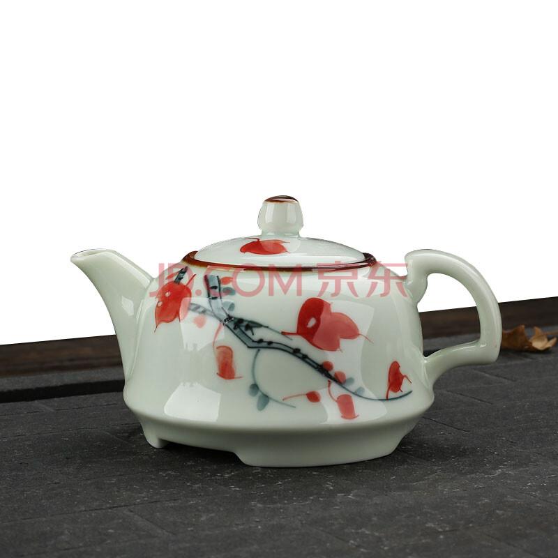 景德镇陶瓷手绘茶具 功夫小茶壶 枫叶