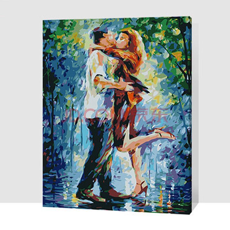 数字油画 简易手工自助手绘挂画 情侣 抽象 卧室客厅玄关艺术装饰 gx