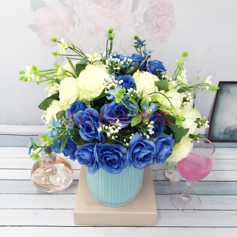 美式现代简约蓝色白色陶瓷花艺套装家居装饰饰品摆设件绢花 花瓶套装图片