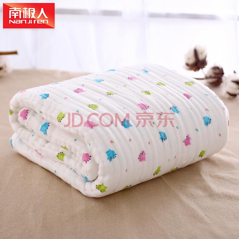 南极人(Nanjiren)婴幼儿浴巾水洗纱布 超柔纯棉盖毯新生儿宝宝空调被毯子小恐龙105*105cm