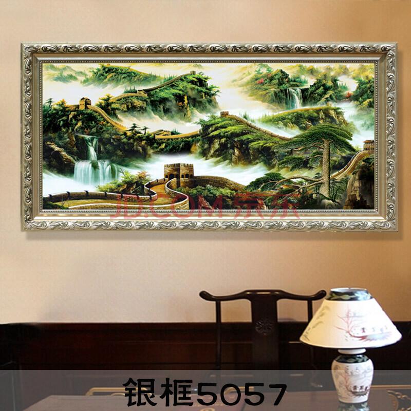 万里长城瀑布风景画 纯手绘现代中式办公司壁画挂画 客厅油画装饰画