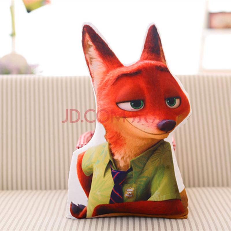 伊诗恋 疯狂动物城同款周边抱枕狐狸尼克公仔疯狂的兔子朱迪毛绒 3d立