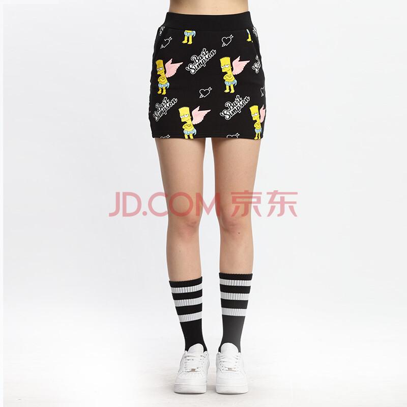 fun国际潮牌2016春上新女装前卫个性潮流辛普森印花针织短裙 黑色 26