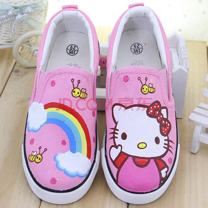 牛牛手绘卡通板女童帆布鞋子 套脚春夏秋季球鞋 儿童板鞋粉红色公主
