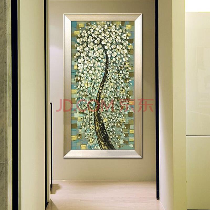 金鑫旺手绘油画发财树玄关壁画竖画单幅走廊客厅装饰画背景墙抽象图案