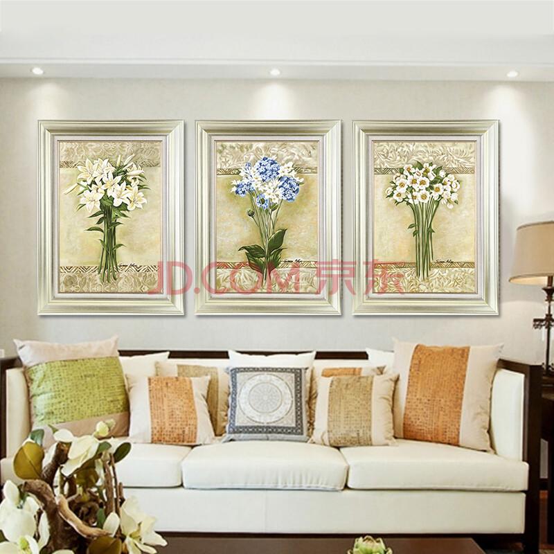 森朴 欧式清新花卉挂画 客厅沙发背景墙装饰画 美式现代餐厅百合花图片