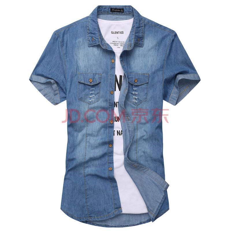 摩雳思顿 2014夏装新款英伦牛仔衬衫 男士短袖衬衣修身时尚潮男装衬衫