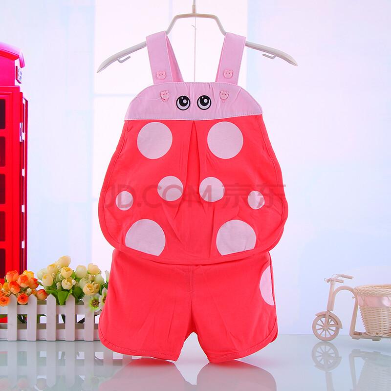 宝宝夏季衣服套装可爱瓢虫琵琶衫男女宝宝外出服婴幼儿卡通童装 粉红