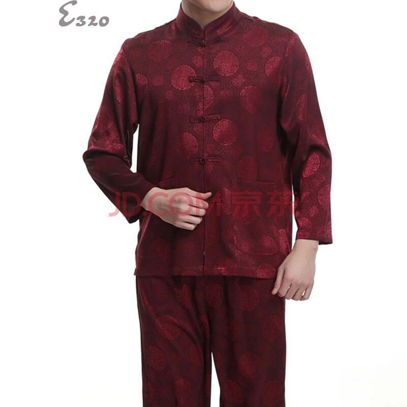 e320 2014中老年男士短袖唐装套装 长袖龙图案 中式唐装男 套装 爸爸