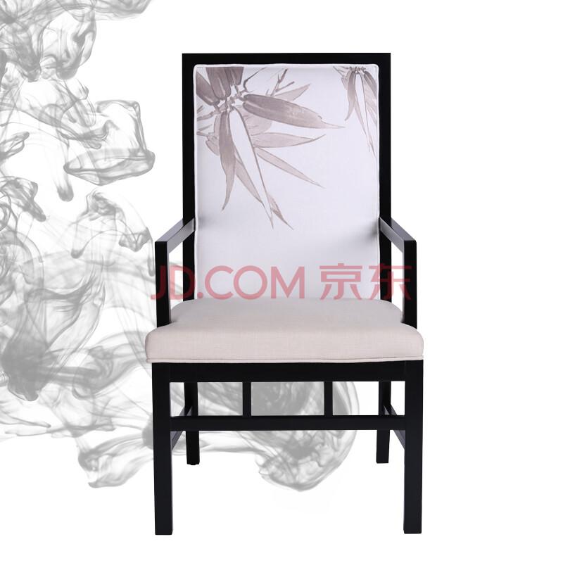 新中式现代实木水曲柳布面餐椅 简约田园复古会客专用休闲椅 黑色餐椅图片