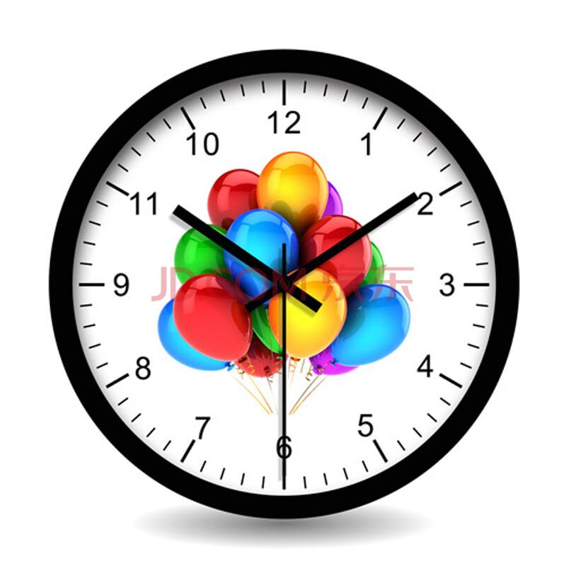 个性一百多彩气球时钟 钟表挂钟时尚数字来图定制木制图片