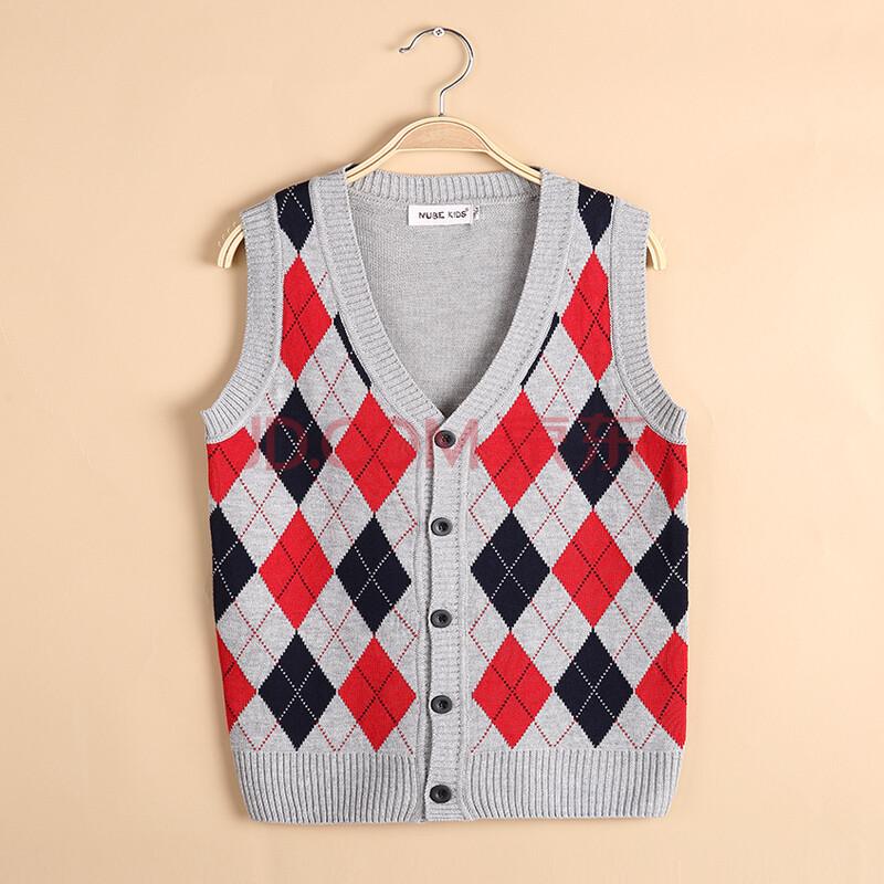男童毛线背心纯棉儿童针织马甲毛衣开衫菱形图案毛衣针织马甲 灰色