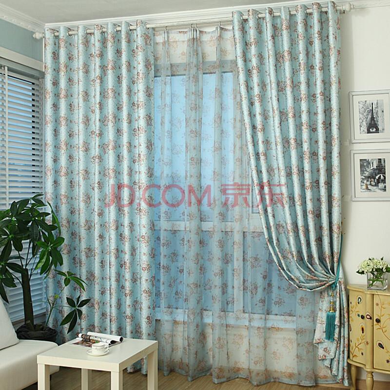 紫柯田园加厚成品窗帘客厅卧室阳台飘窗落地窗现代遮光布欧式可定制图片