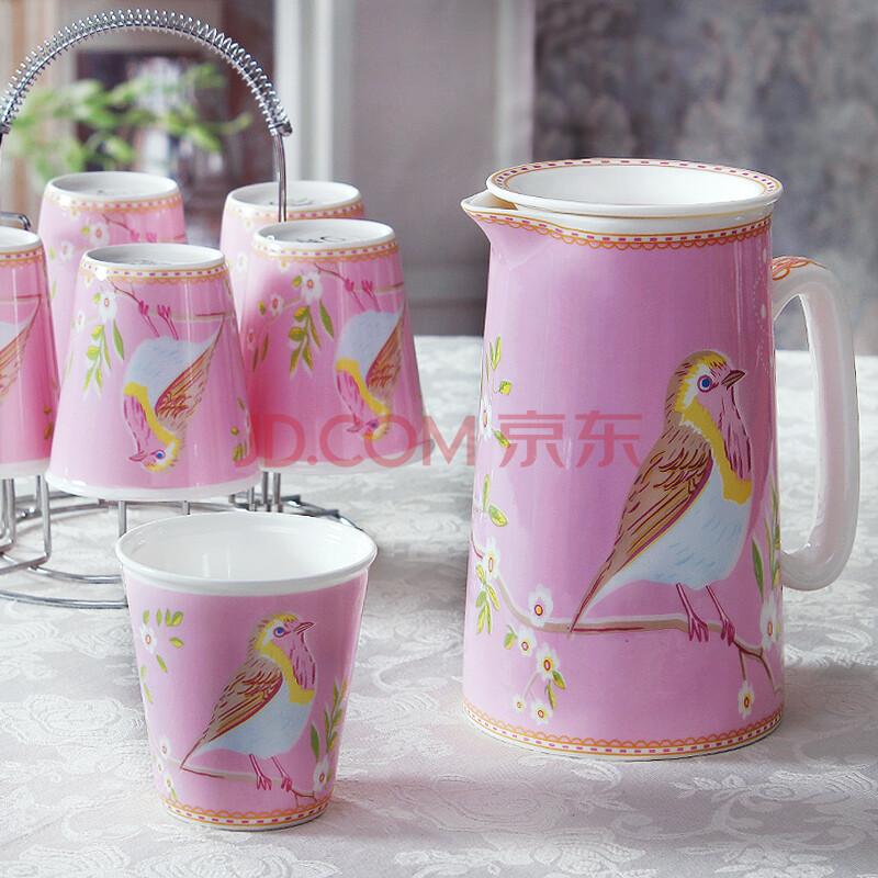 冷水壶水杯套装水具瓷创意陶瓷凉水壶杯子 杯具套装8件套 夏木知更粉图片