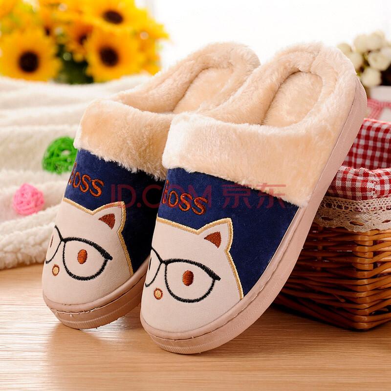 可爱卡通半包跟棉拖鞋女冬季男士情侣室内家居家保暖防滑厚底毛绒