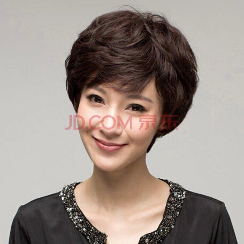 黛娜儿假发 时尚女士高档真发中老年假发 女 短发蓬松图片
