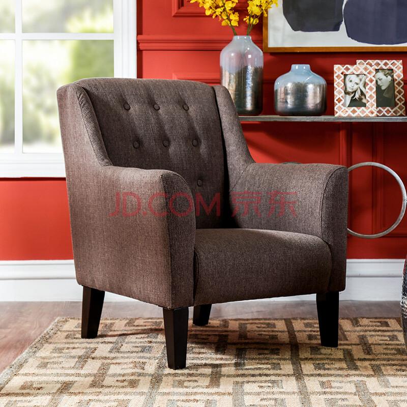 现代美式简约家具客厅布艺单人沙发 玛奈咖啡色单人沙发椅 咖啡色图片